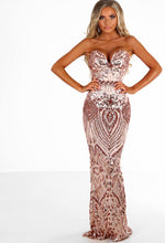 Out Of This World Rose Gold Sequin Strapless Maxi Dress