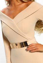 Nude Bardot Belted Bodycon Mini Dress - Detail Close up