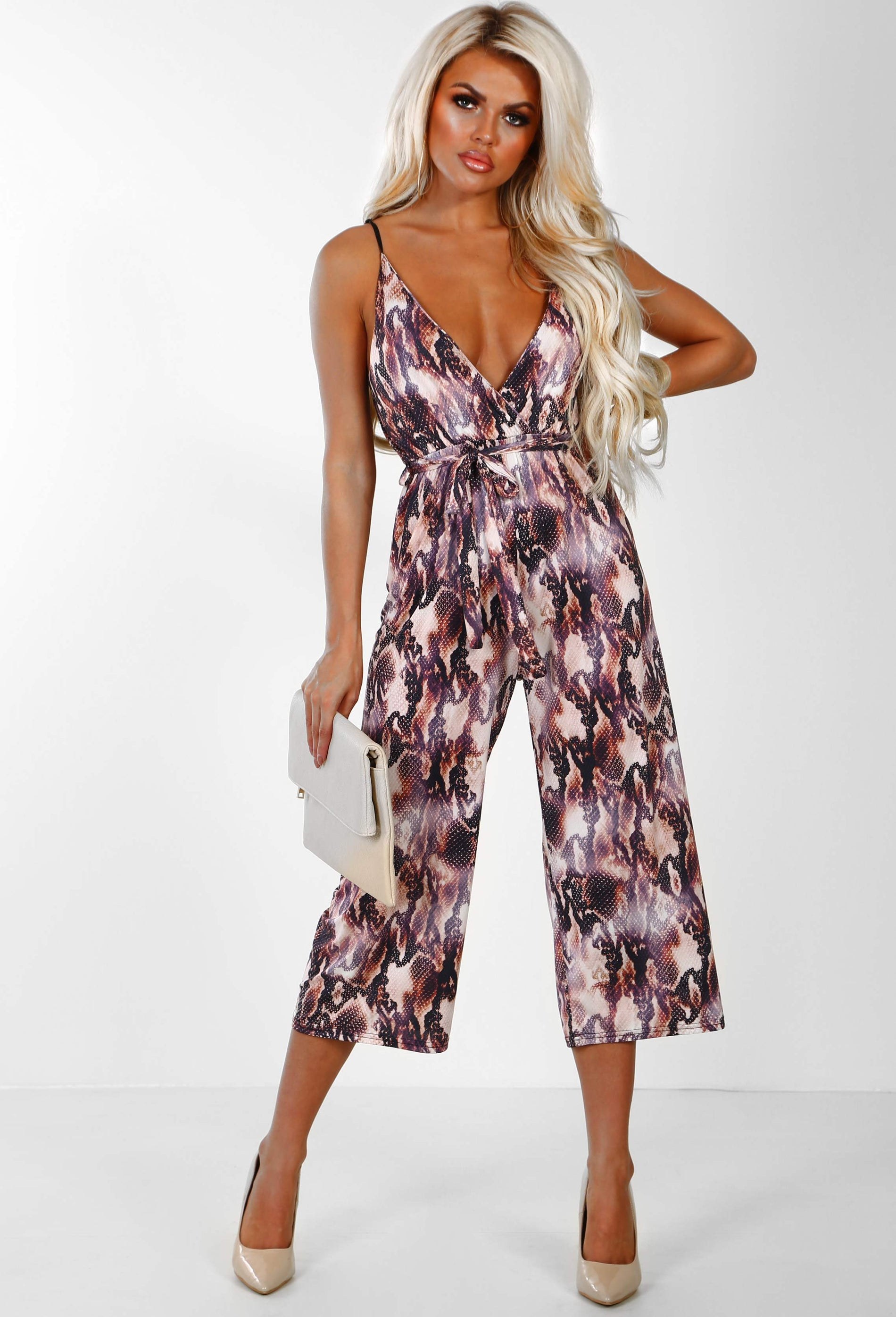 5b513683e31 Out On Top Multi Snake Print Plunge Culotte Jumpsuit – Pink Boutique UK