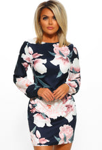 Navy Floral Long Sleeve Mini Dress - Front View