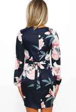 Outfit Goals Navy Multi Floral Print Long Sleeve Mini Dress