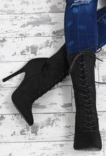 Own It Black Lace Up Stiletto Calf Length Boots