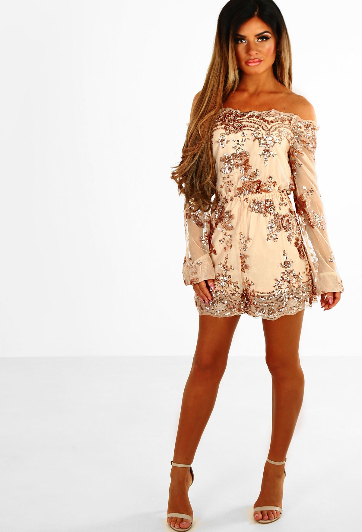 Own The Night Rose Gold Bardot Sequin Playsuit – Pink Boutique UK