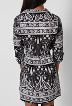 Polly Black and White Paisley Print Shirt Dress