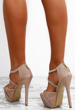 Party Diva Rose Gold Diamante Glitter Platform Heels