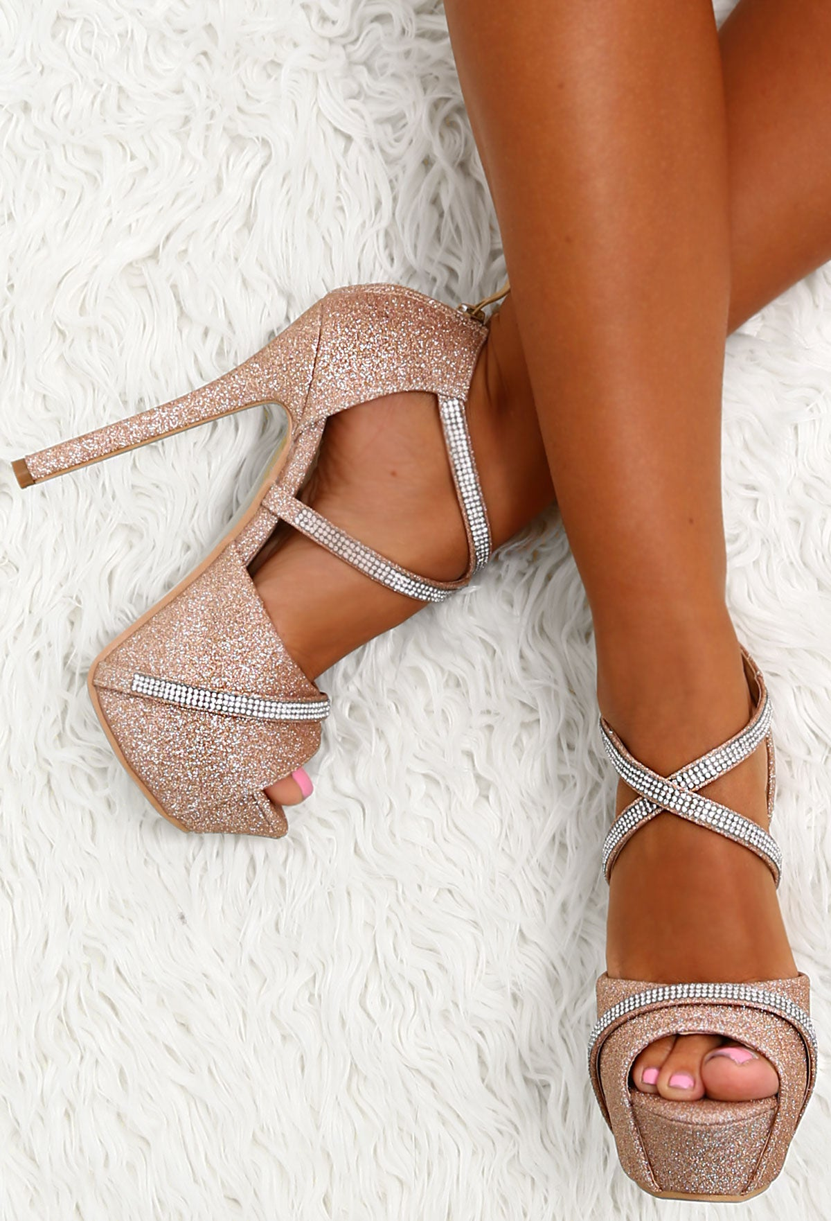 29c824aea54 Party Diva Rose Gold Diamante Glitter Platform Heels – Pink Boutique UK