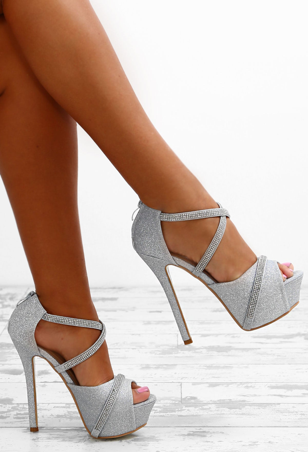 2853bba7cc74 Party Diva Silver Diamante Glitter Platform Heels – Pink Boutique UK