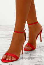 Party Girls Red Diamante Barely There Heels