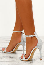 Party Girls Silver Diamante Barely There Heels
