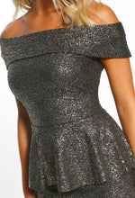 Party Mode Black Sparkle Peplum Bardot Midi Dress