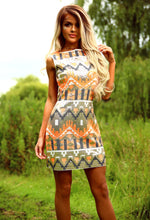 Party On Orange and Gold Aztec Print Sequin Mini Dress