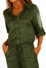 Persuade Me Khaki Button Up Utility Jumpsuit