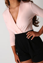 Evette Nude and Black Wrap Top Playsuit