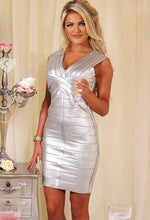 Plata Silver Metallic Bandage Bodycon Mini Dress