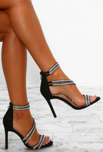 Platinum Fizz Black Diamante Strap Stiletto Heels