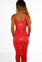 Red Crochet Bustier Midi Dress - Back View