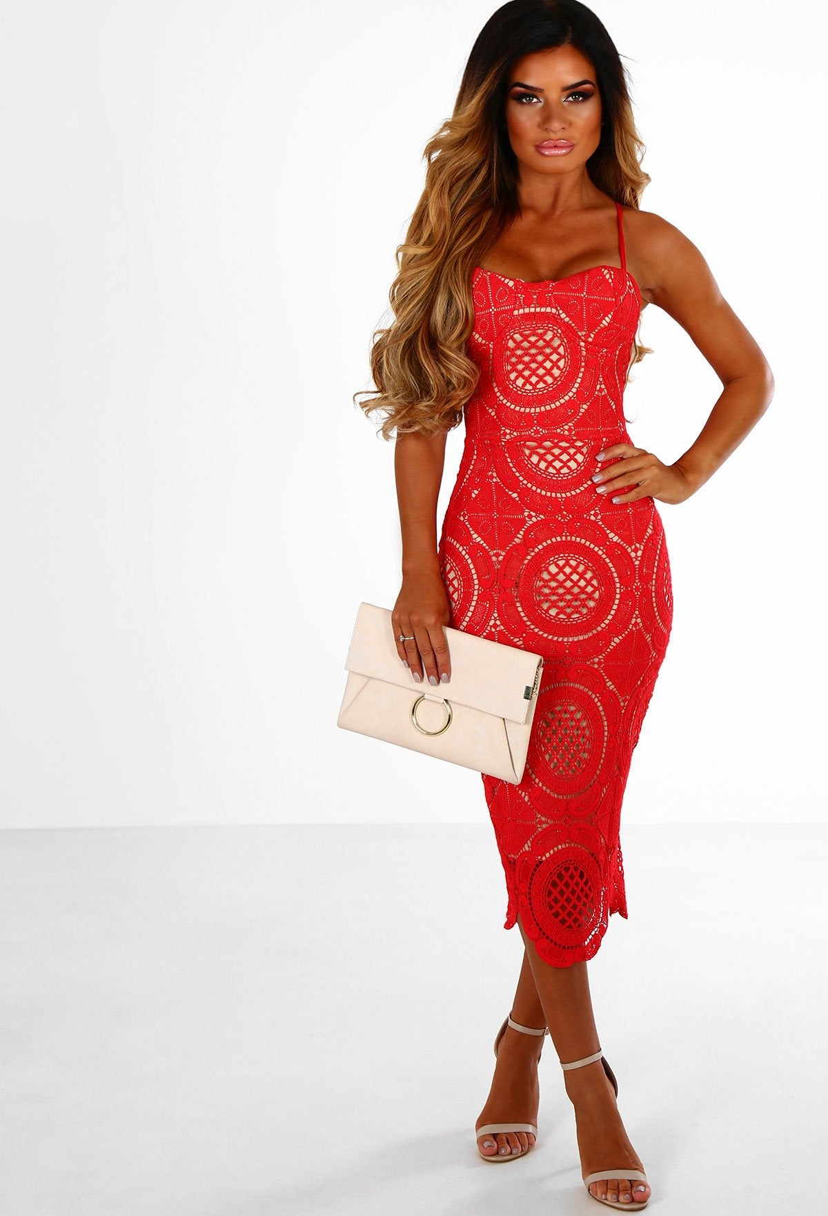 Play It Cool Red Crochet Bustier Midi Dress Pink Boutique Uk
