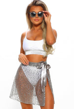 Pool Pixie Silver Sequin Mini Skirt Cover Up