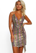 Popping Bottles Multi Stripe Sequin Wrap Front Mini Dress