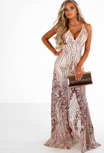 Rose Gold Sequin Split Maxi Dress - Front with Accessory