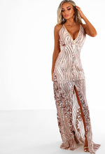 Rose Gold Sequin Split Maxi Dress - Full Front View