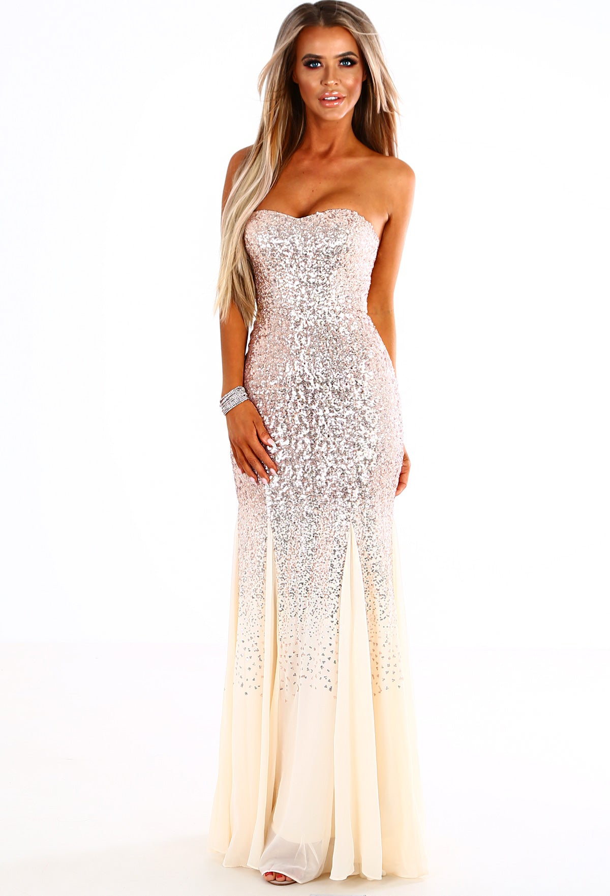 bf25f161 Black And Gold Sequin High Neck Fishtail Maxi Dress