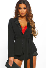 Prep & Pose Black Satin Detail Belted Blazer