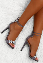 Princess Party Grey Embellished Ankle Wrap Heels