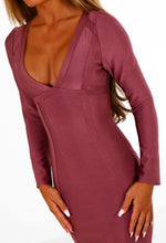 Promiscuous Plum Long Sleeve Bandage Mini Dress