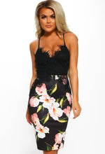 Black Floral Lace Bodycon Midi Dress