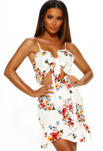 White Floral Tie Front Dress