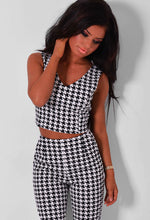 Dixi Monochrome Dogtooth Print Crop Top