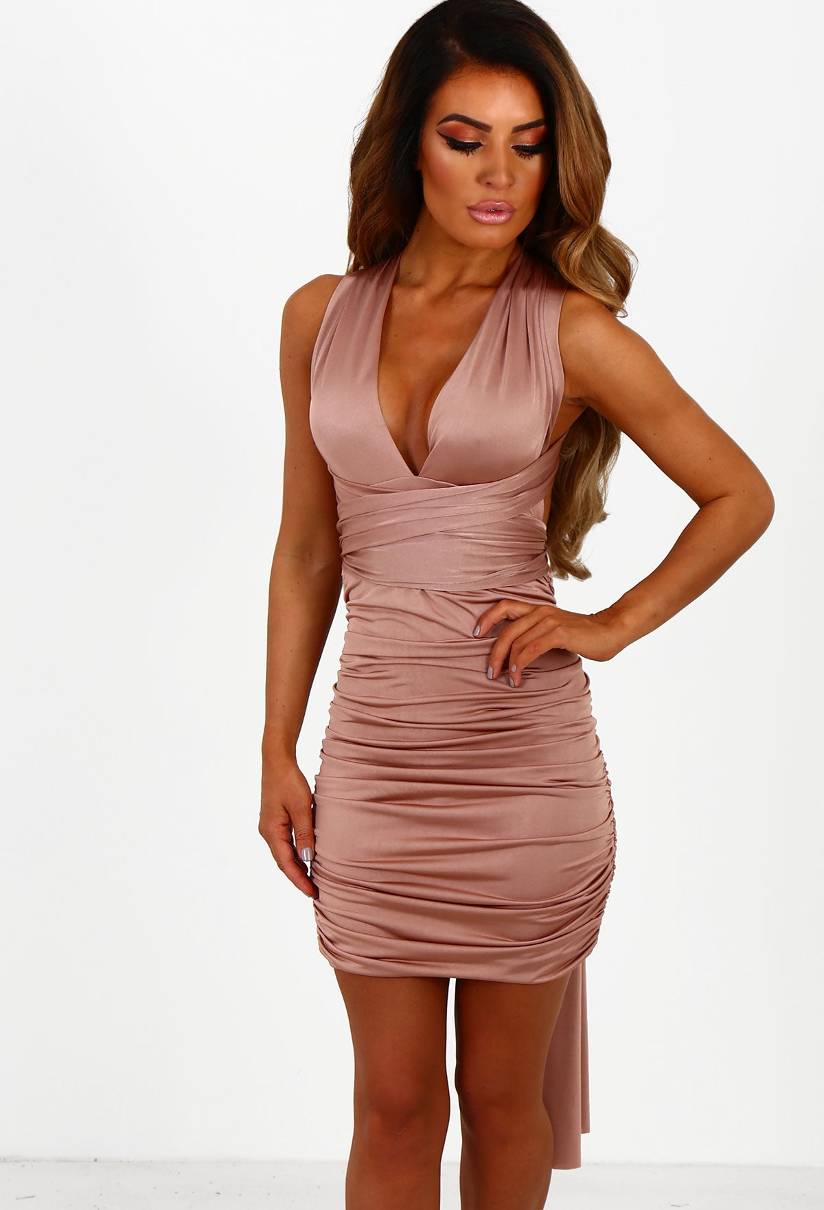 afe131c369 Ready For Love Rose Pink Multiway Slinky Ruched Mini Dress – Pink ...