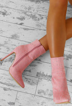 Ready Steady Strut Pink Faux Suede Studded Stiletto Ankle Boots