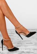 Rebel Rebel Black Patent Studded T-Bar Stiletto Heels