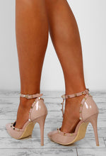 Rebel Rebel Nude Patent Studded T-Bar Stiletto Heels