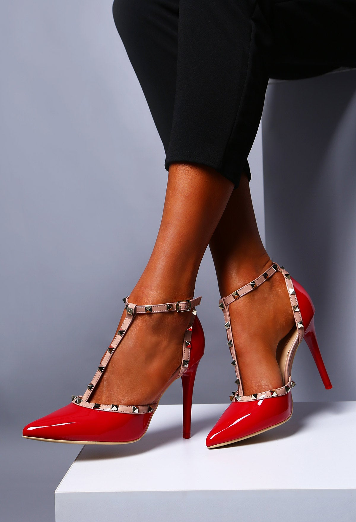 8c837b10709 Rebel Rebel Red Patent Studded T-Bar Stiletto Heels – Pink Boutique UK