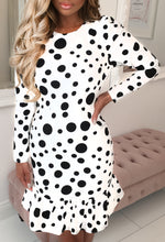 Regina White  Long Sleeve Polka Dot Ruched Mini Dress