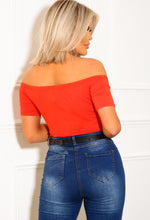 Orange Soft Touch Bardot Jersey Bodysuit