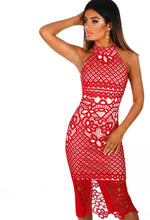 Rendez-Vu Red and Nude Crochet Midi Dress