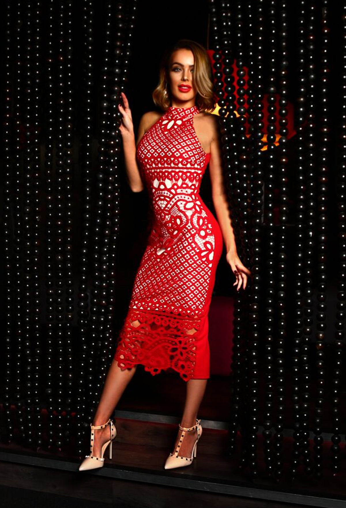e375e92eed4 Rendez-Vu Red and Nude Crochet Midi Dress – Pink Boutique UK