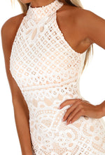 White and Nude Crochet Dress