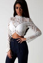 Rhea White Crochet Zip Back Crop Top