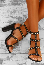 Rock Steady Black Studded Cage Block Heels
