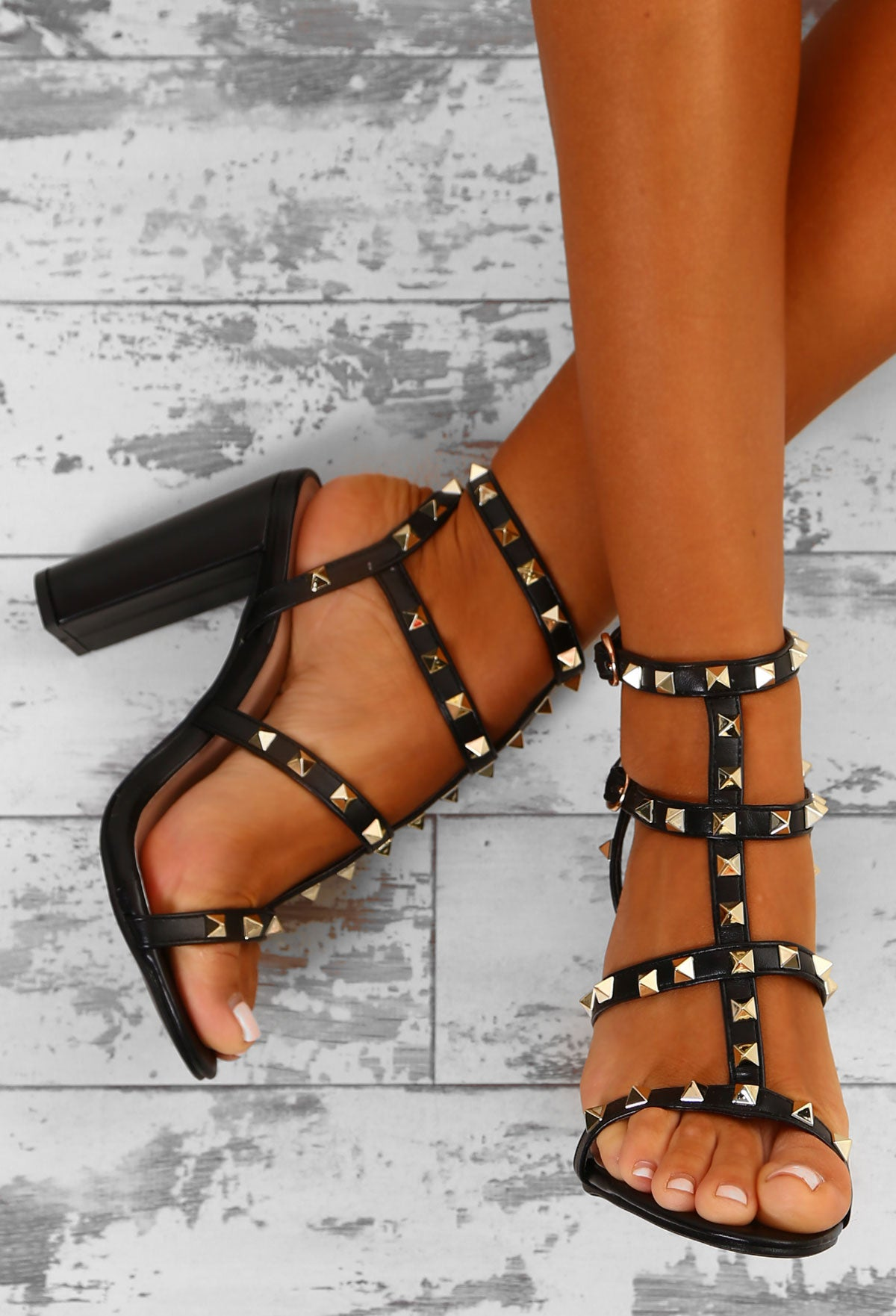 bfdd0901cc Rock Steady Black Studded Cage Block Heels – Pink Boutique UK