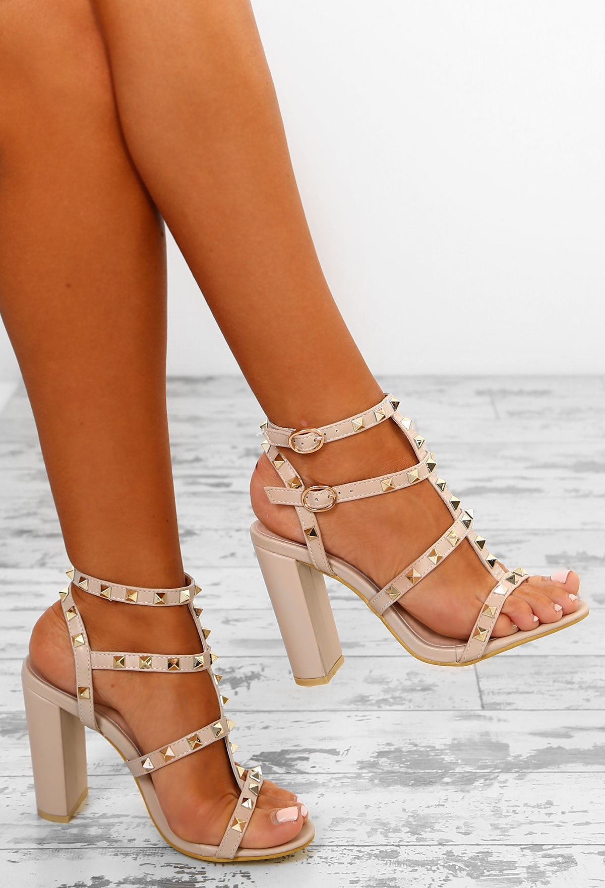 c76877d699 Rock Steady Nude Studded Cage Block Heels – Pink Boutique UK