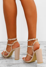 Rock Steady Nude Studded Cage Block Heels