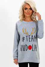 Rudolph Grey Slogan Christmas Jumper