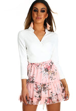 Ruffle Me Up Pink Floral Frill Mini Skirt