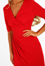 Rumour Mill Red Asymmetric Wrap Front Maxi Dress